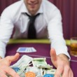 Man winning the jackpot in poker — Stock Photo