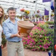 Couple choosing flower pot — Stock Photo