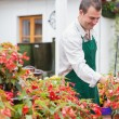 Customer and garden center worker discussing plants — Stockfoto