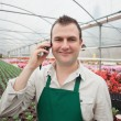 Employee on the phone in greenhouse — Stock Photo