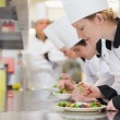 Stock Photo: Chef's finishing their salads in culinary class