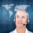 Stock Photo: Man smiling wearing a headset