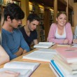 Students in the library studying together — Foto Stock