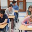 studenten zitten op examen kamer — Stockfoto