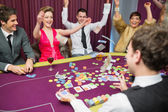 Celebrating at poker game — Stock Photo