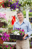 Smiling customer taking flower boxes outside — Stock Photo