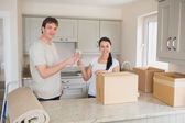 Two celebrating the relocation — Stock Photo