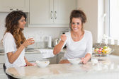 Two friends eating bowls of cereal — Stock Photo