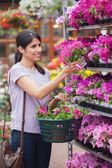 Woman holding a flower and a basket — Stock Photo