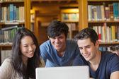 студенты сидят глядя на ноутбук — Стоковое фото