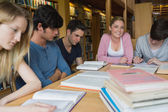 Students in the library studying together — Stock Photo
