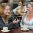 Women sitting at the coffee shop looking at the smartphone — Stock Photo
