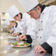 Concentrated Chef's preparing their salads — Stock Photo #23100878