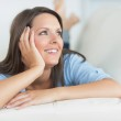 Woman smiling and looking away — Stock Photo