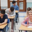 Stock Photo: Students sitting at exam room concentrating