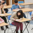 Students writing in the exam hall — Foto de stock #23102436