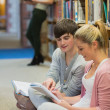Students studying together sitting on floor — Stock Photo #23102608