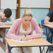 Stock Photo: Students in exam hall