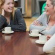 Women sitting at the coffee shop laughing — Stock Photo #23104236