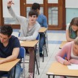 Boy raising hand during exam — Stockfoto
