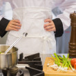 Chef making soup - Stock Photo