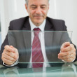 Man looking at his virtual screen — Stock Photo