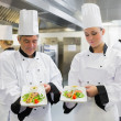 Stock Photo: Two Chef's presenting their salmon dishes