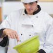 Chef whisking batter — Stock Photo