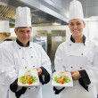 Stock Photo: Two Chef's showing salmon dishes