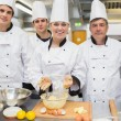 Smiling pastry class with teacher — Stock Photo