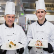 Stock Photo: Smiling Chef's presenting their dishes
