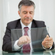 Man writing on a virtual screen — Stock Photo