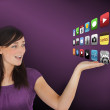 Stockfoto: Womstanding presenting applications