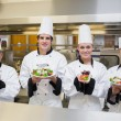 Стоковое фото: Chef's presenting different salads