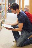 Student kneeling by bookshelf looking at book — Stock Photo