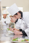 Culinary class preparing salads — Stock Photo