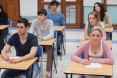 Students sitting in the exam room — Stock Photo