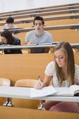 Student looking at another's work in lecture hall — Stock Photo