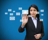 Concentrate businesswoman touching at a message symbol — Stock Photo
