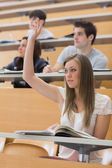 Woman sitting at the lecture hall with hand up — Stock Photo