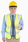 Man in helmet and vest holding a plan — Foto Stock
