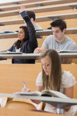 Student sitting at the lecture hall with hand up — Stock Photo