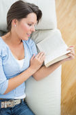 微笑读一本小说在沙发上的女人 — 图库照片