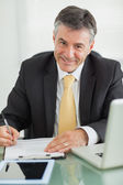 Business man smiling while working — Stock Photo