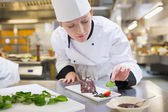 Chef putting mint with her chocolate cake — Stock Photo