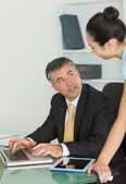 Business man and woman working in team — Stock Photo