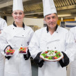 Стоковое фото: Chef's presenting their salads