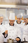 Culinary class learning to make soup — Stock Photo