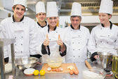 Culinary class with pastry teacher giving thumbs up — Stock Photo