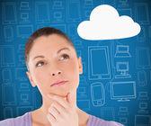 Woman thinking about cloud computing — Stock Photo